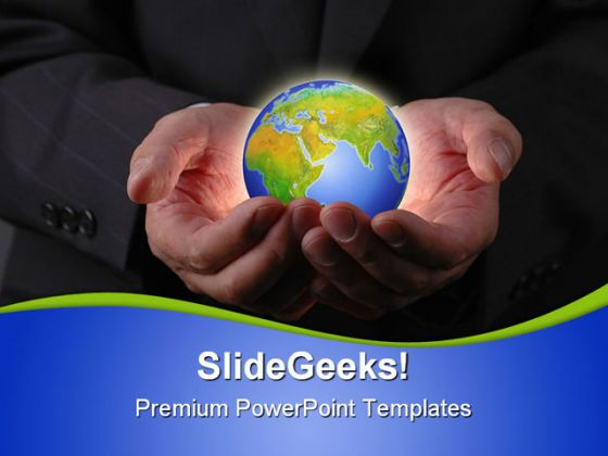 Hands With Globe People PowerPoint Template 1010