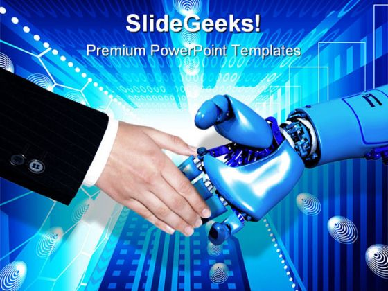 handshake technology powerpoint template 0610, Modern powerpoint
