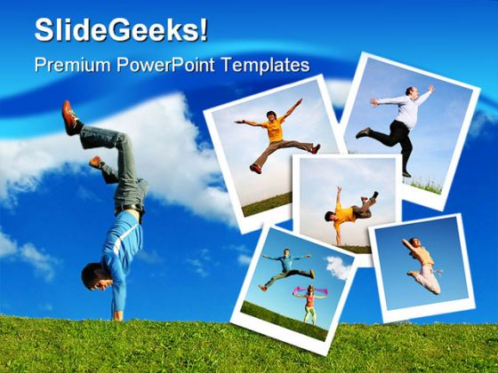 Happiness People PowerPoint Template 1110