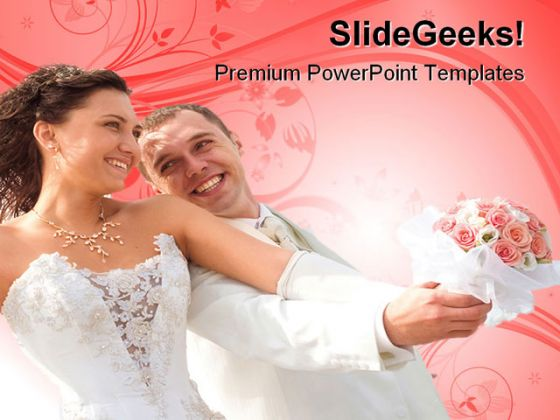 Happy Couple Wedding PowerPoint Template 0610