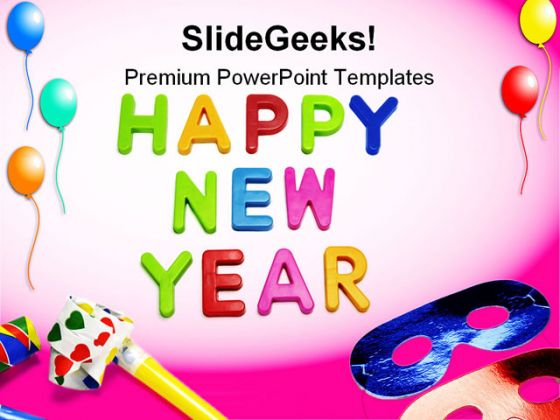Happy New Year03 Holidays PowerPoint Template 1010