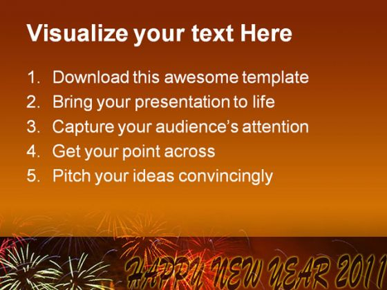 Happy New Year 2011 Festival PowerPoint Background And Template 1210