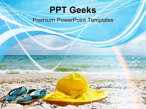 Hat And Flip Flop Beach PowerPoint Templates And PowerPoint Backgrounds 0411