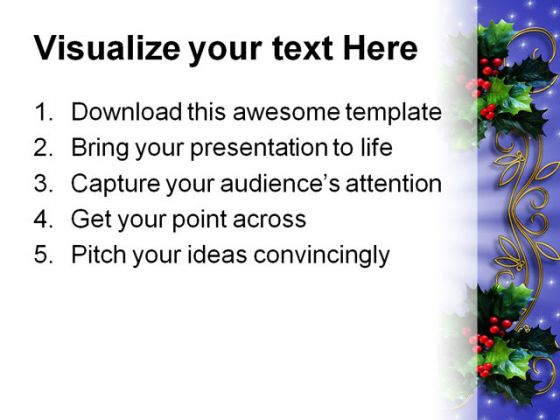 Holly Border Christmas PowerPoint Template 0610