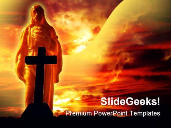 Jesus Cross Religion Powerpoint Template 0610