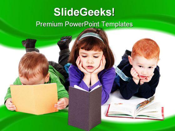 Kidsreadingbookseducationpowerpointtemplate11101g toneelgroepblik Images