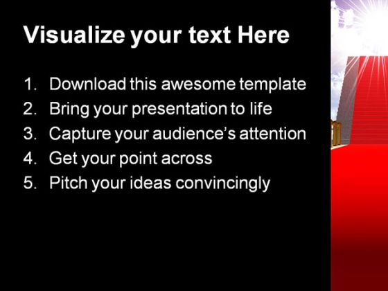 Ladder With Red Carpet Future PowerPoint Template 1110