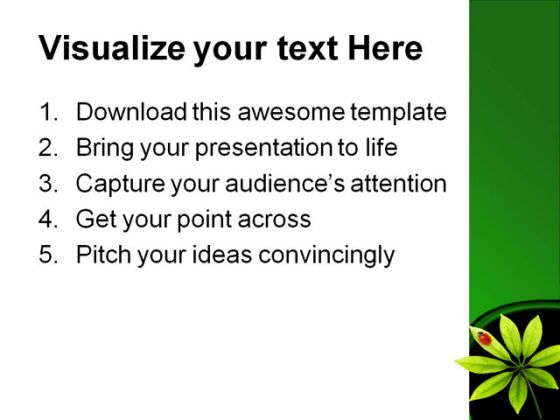 Lady Bug Nature PowerPoint Template 0910