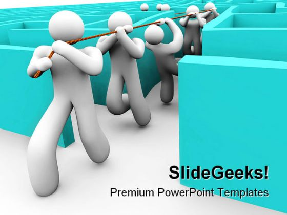 Leading Team Out Of A Maze Leadership PowerPoint Template 0910