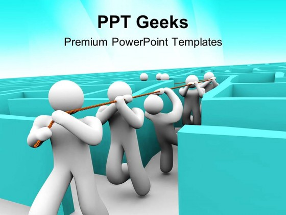 leading team out of maze business powerpoint templates and, Modern powerpoint