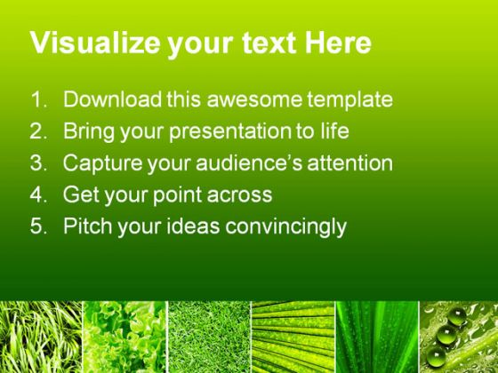 Leaves Collage Nature PowerPoint Template 0810