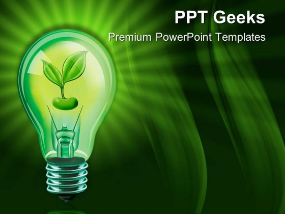 Light Bulb With Plant Nature Powerpoint Templates And Powerpoint