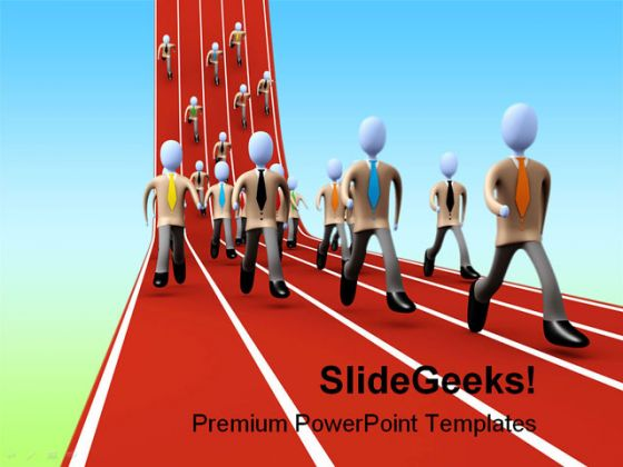 Marathon Business People PowerPoint Template 1110