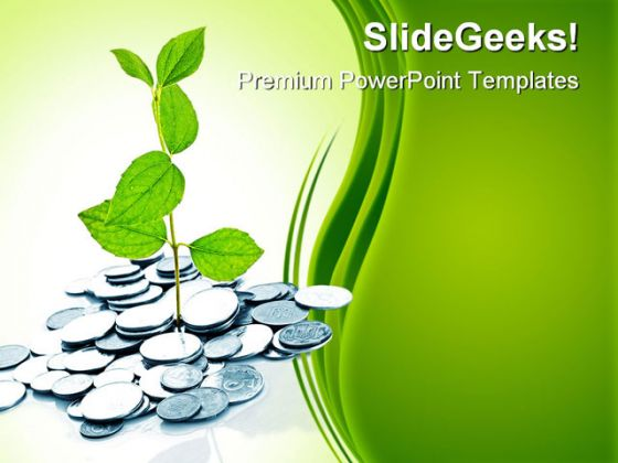 money plant finance business powerpoint background and template, Powerpoint