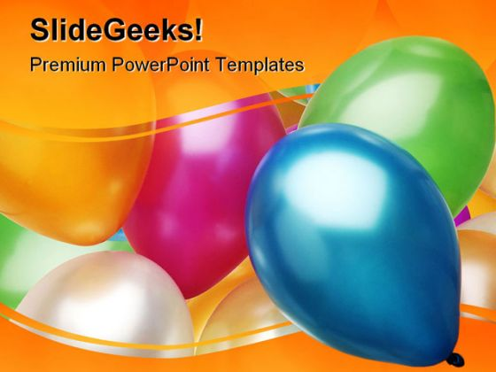 party balloons festival powerpoint template 0810, Modern powerpoint