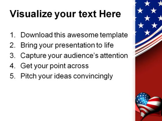 Patriotic Love Heart Americana PowerPoint Template 1010