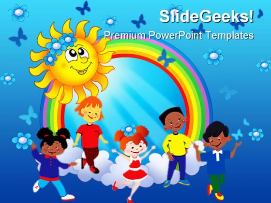 Rainbow sun with kids abstract powerpoint template 1110 toneelgroepblik Images