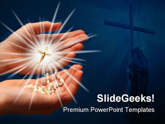 rays of cross religion powerpoint template 0610, Powerpoint templates