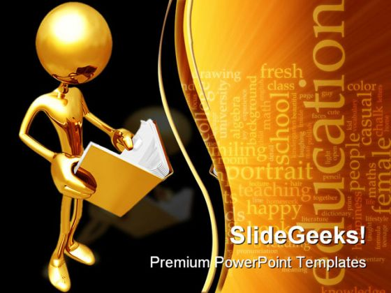 Reading book education powerpoint template 0610 toneelgroepblik Images