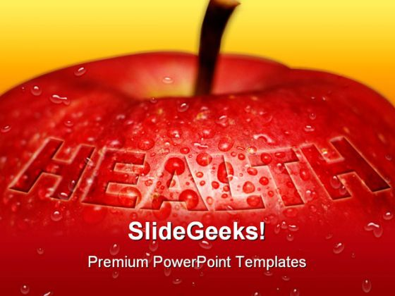 red apple health concept medical powerpoint backgrounds and, Powerpoint templates