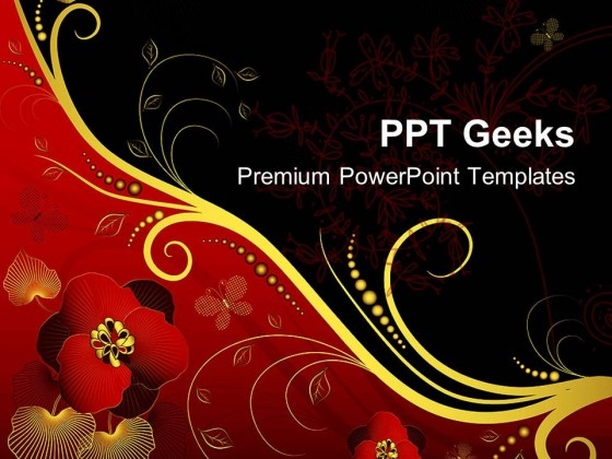 Red Black And Golden Floral Background PowerPoint Templates And PowerPoint Backgrounds 0411