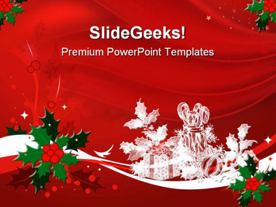 red christmas powerpoint template, Powerpoint