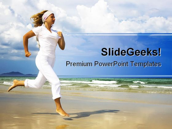 Running On Beach Health PowerPoint Template 1110