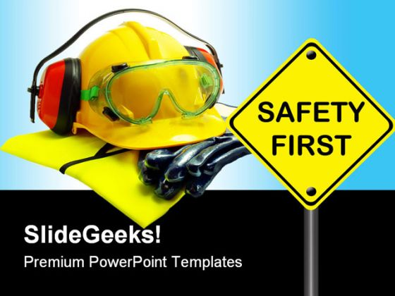 Safety First Construction PowerPoint Backgrounds And Templates 1210