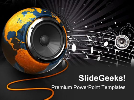world music globe powerpoint template 1110, Powerpoint templates