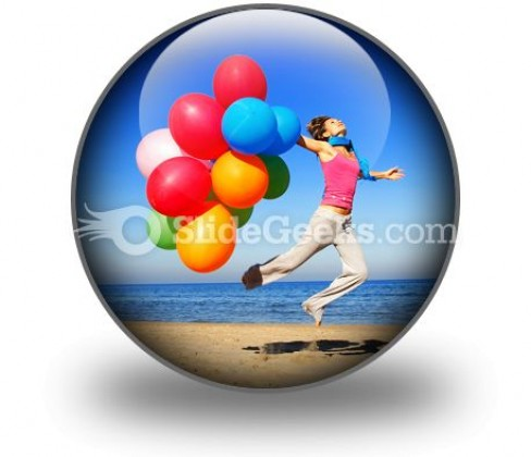 Colorful Balloons Jump PowerPoint Icon C