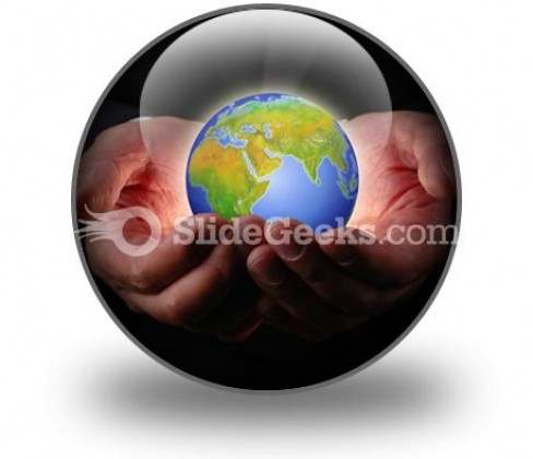 Earth In Hands PowerPoint Icon C